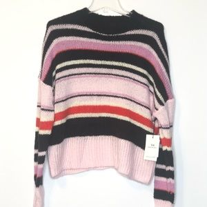 Something Navy Womens Sweater M Pink Stripes NEW